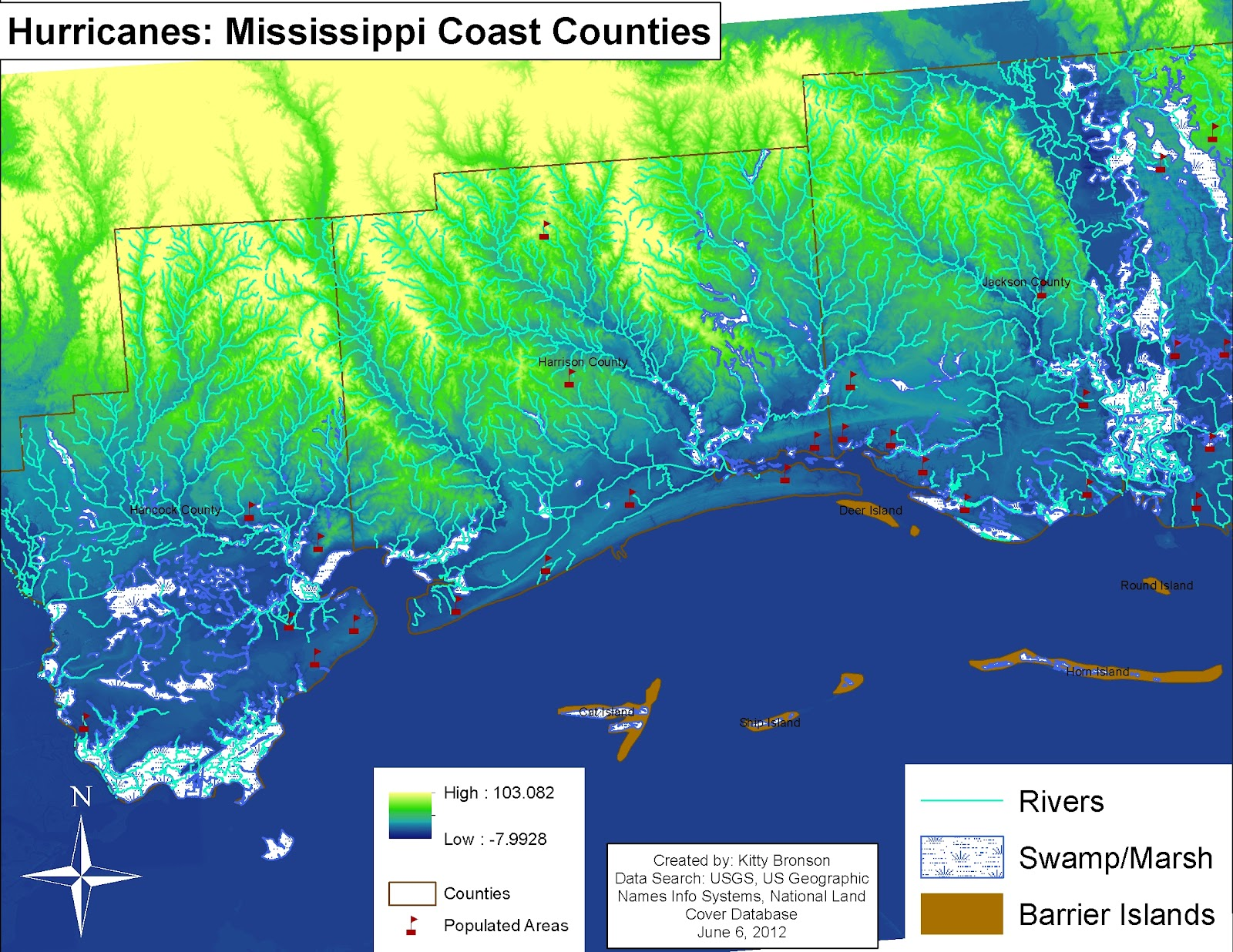 looking at the maps we can see that many of the populated areas are along the gulf coast and rivers the storm surge inundated the coastal communities