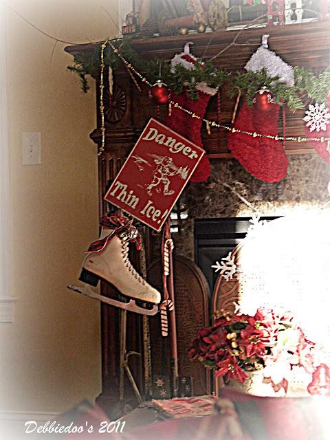 skate Christmas mantel {rustic, whimsy}