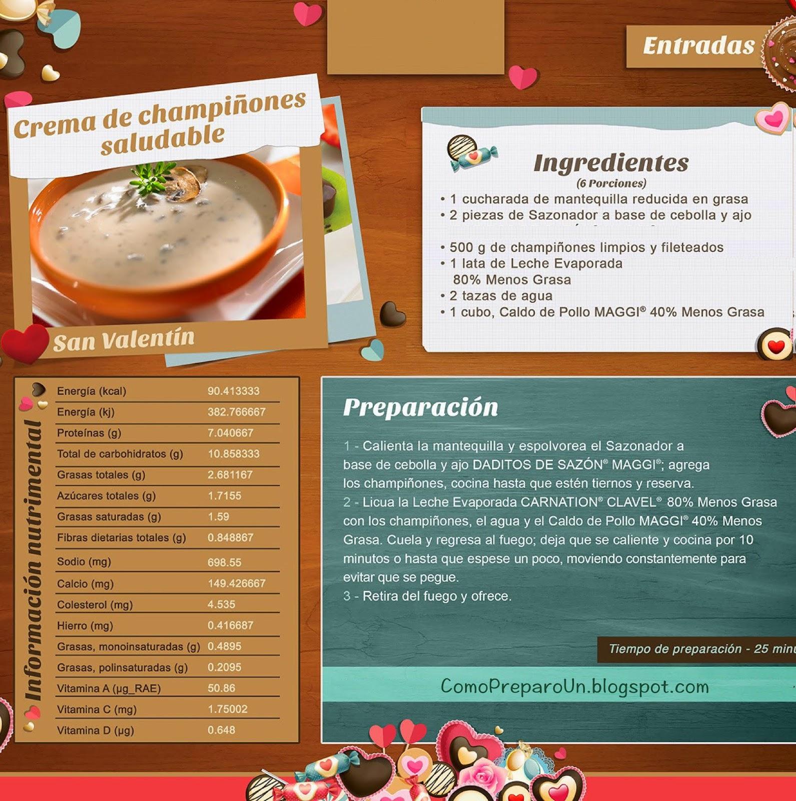 RECETAS - CREMA DE CHAMPIÑONES - ENTRADAS SALUDABLES PARA SAN VALENTIN