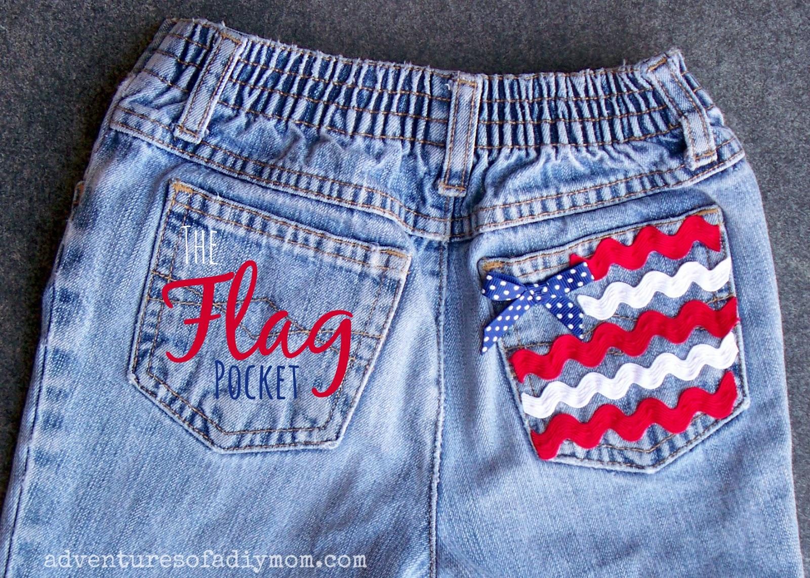 Cutoff Jean Shorts with Flag Pocket
