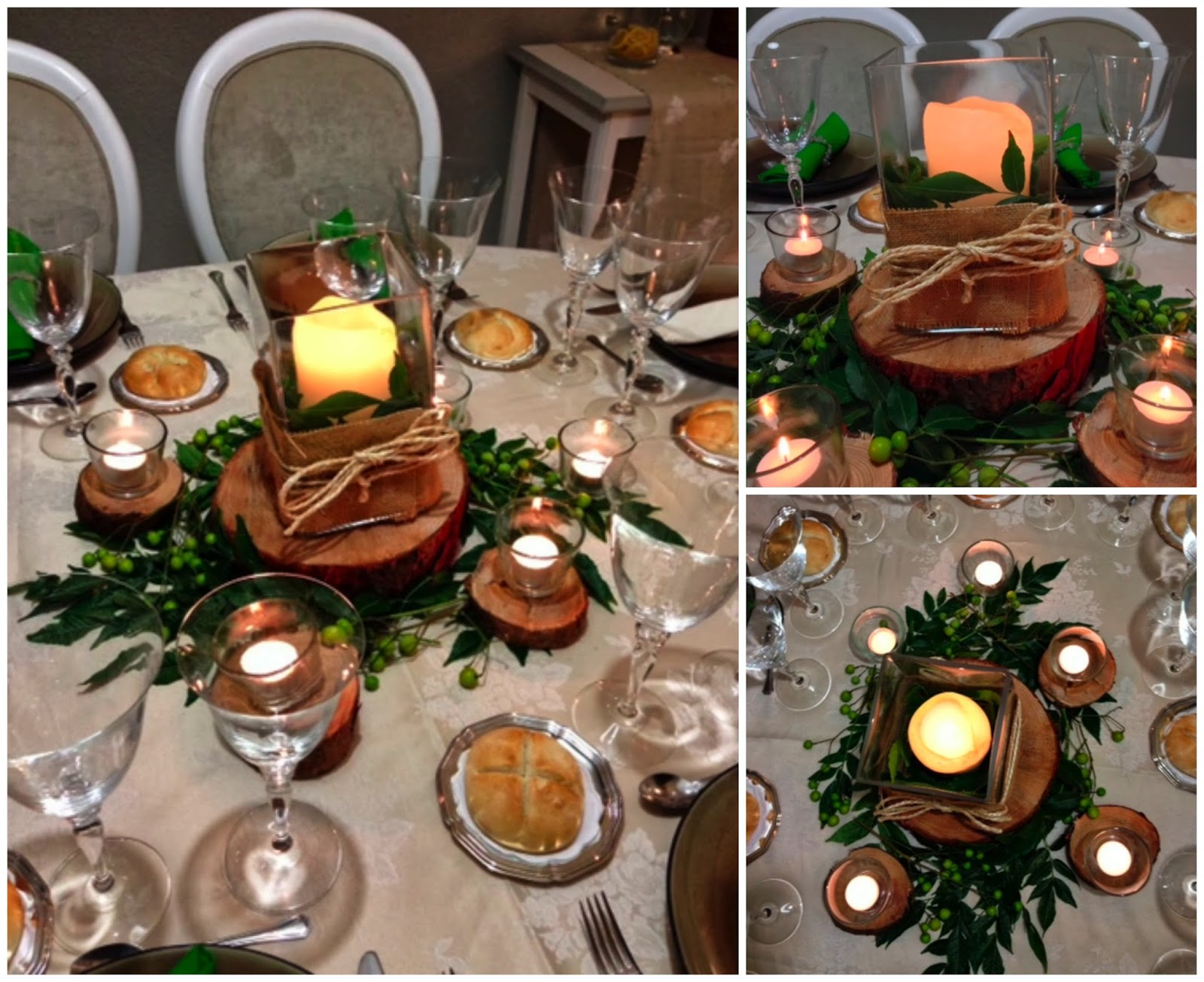 Centros de mesa con troncos de madera - Mesa de tronco ...