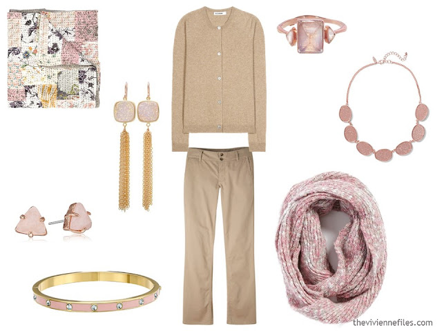 How to wear Pantone Color of the year 2016 Rose Quartz with beige or camel clothes.