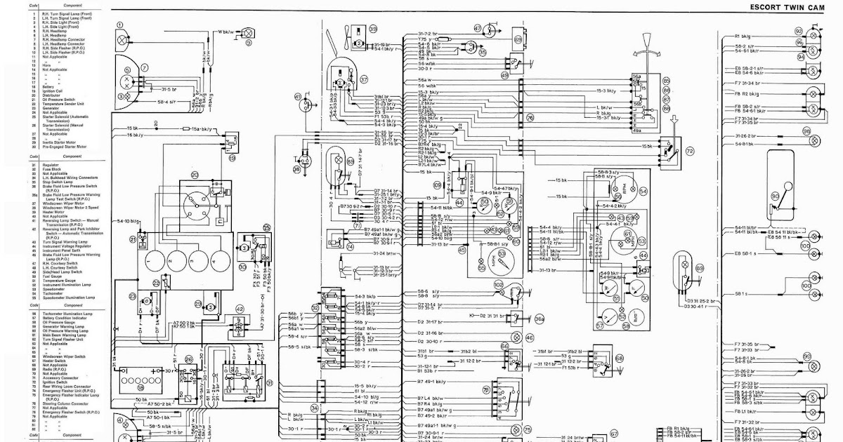 Nc Fairlane Wiring Diagram : Ford escort complete electrical wiring diagram all