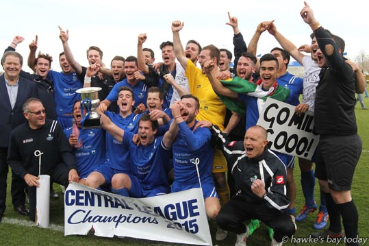 Napier City Rovers celebrate after beating Palmerston North 4-1 to win the Central League Cup, football at Park Island, Napier. photograph
