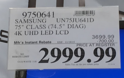 Deal for the Samsung UN75JU641D 75-inch hdtv at Costco
