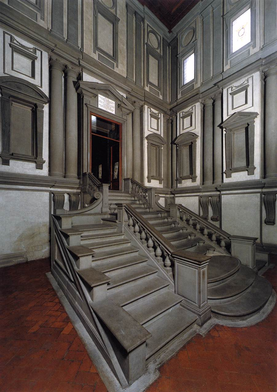The 3-story vestibule welcomes visitors to the Laurentian Library. Photo: Web Gallery of Art. Unauthorized use is prohibited.