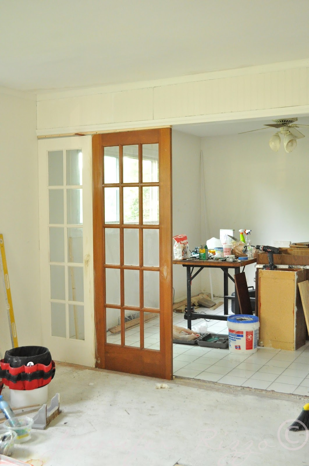 Divide your space by using french doors as room dividers
