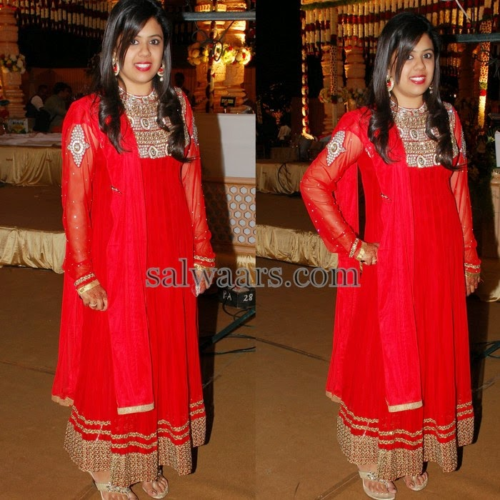 Cut Work High Neck Red Salwar