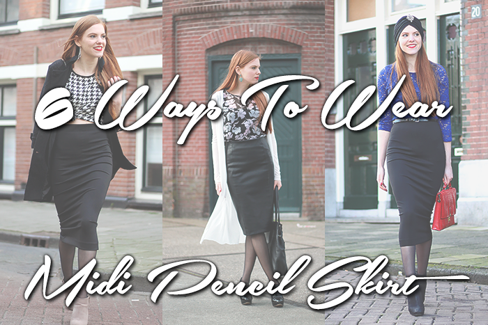 How to / ways to wear a black midi pencil skirt