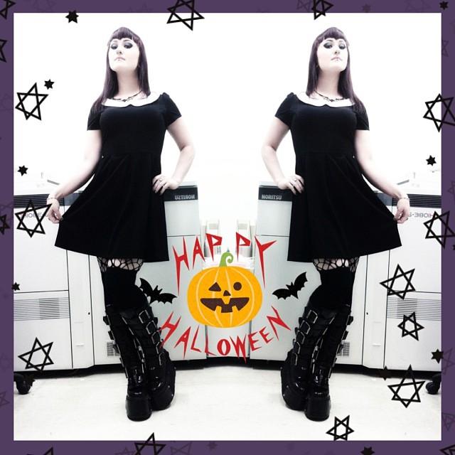 modcloth dress halloween goth girl black milk clothing spidies hosiery demonia boots bats