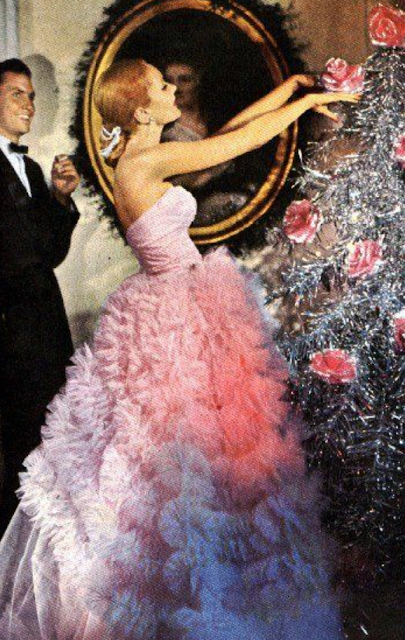 Vintage Christmas - pink dress - festive fashion