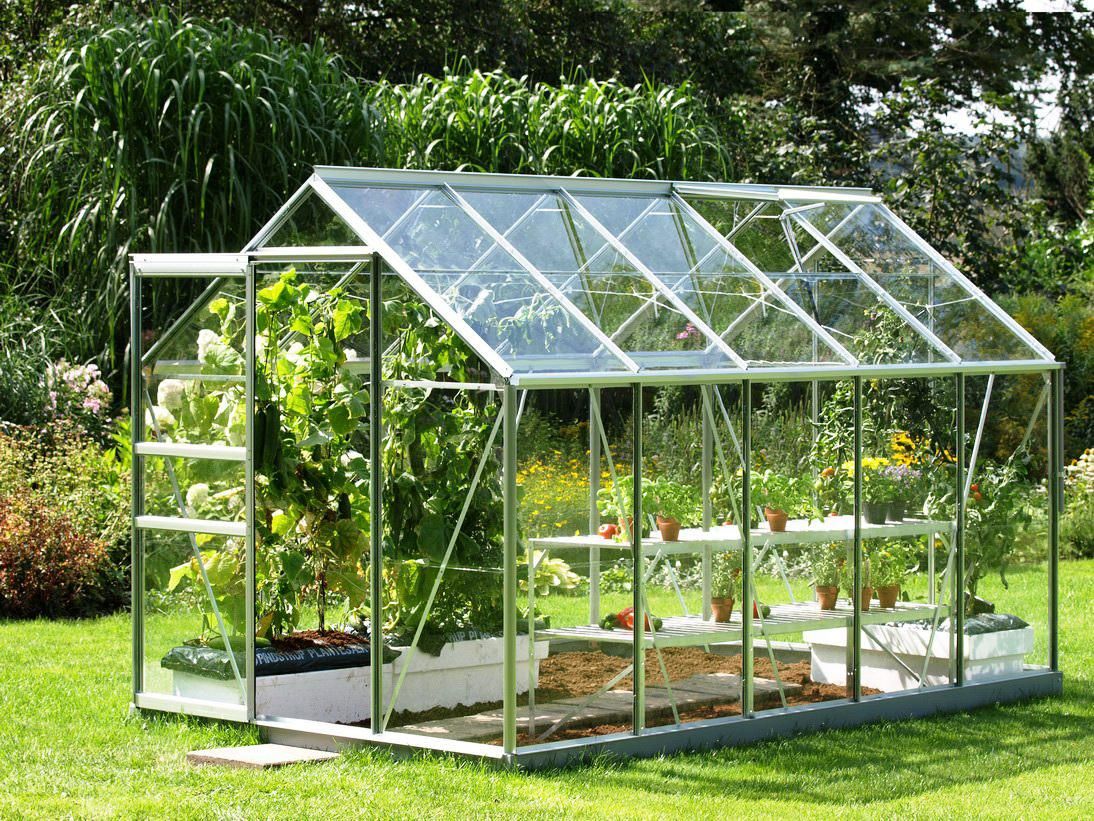 Charming design of backyard greenhouse kits nice raised bed and small pot decor