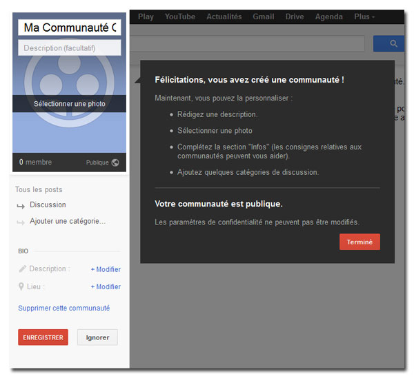 Photo, slogan, bio et discussion d'une communauté Google+