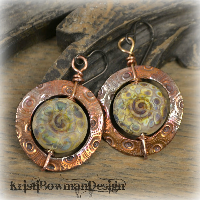 copper, copprclay, pmc, metal clay, glass, lampwork, genea, kristi bowman design, kristibowmandesign, earrings, sahara