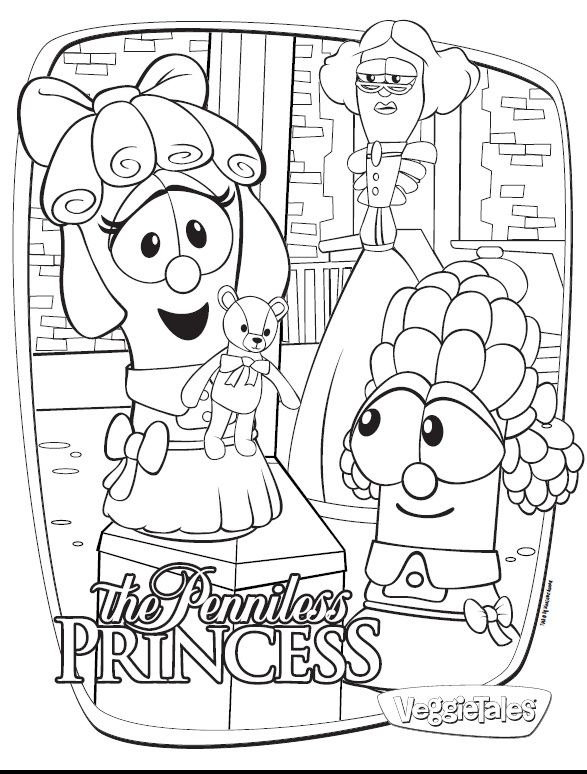 Veggietales the penniless princess free coloring pages for Veggie tales coloring book pages