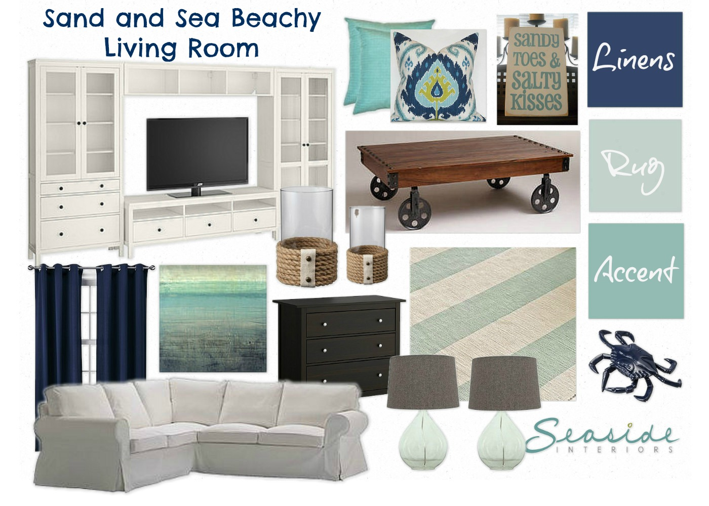 Seaside Interiors: Sand and Sea Beachy Living Room in Navy and ...