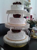 3 Tier Wedding Cake - Red Velvet with Cream Cheese and Fresh Cream