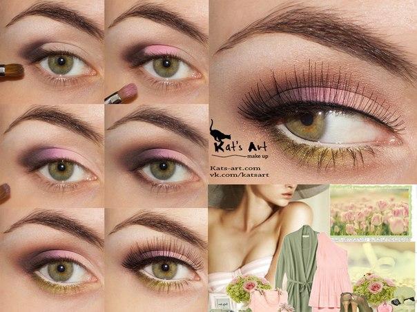 Повседневный макияж для зелено-карих глаз пошагово