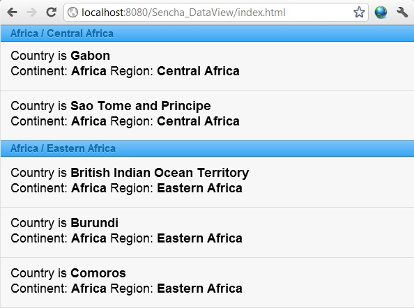 sencha touch grouped list example