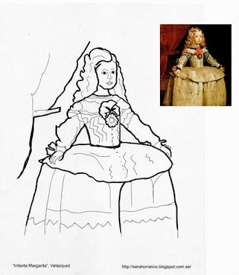 dibujo colorear Infanta Margarita Velázquez