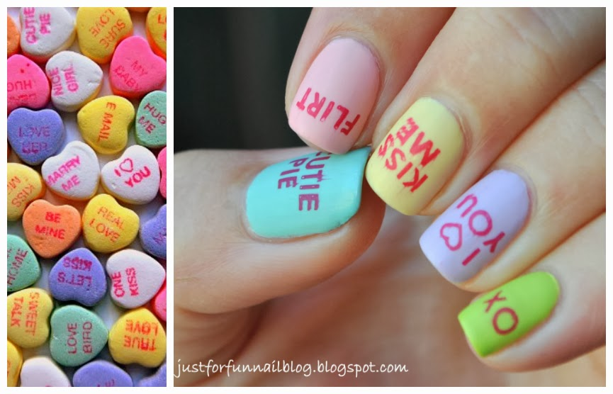 Week of Love V'day Nail Art Challenge - Day 1 - Heart Candy Sayings