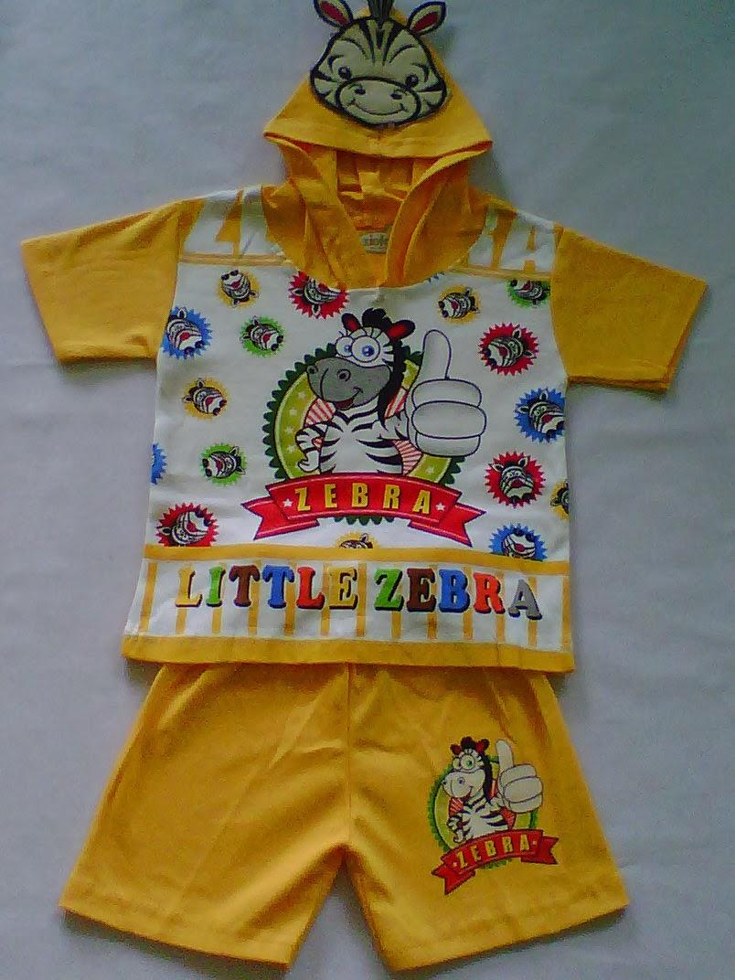 Setelan Hoodi Bahan Little Zebra Kuning