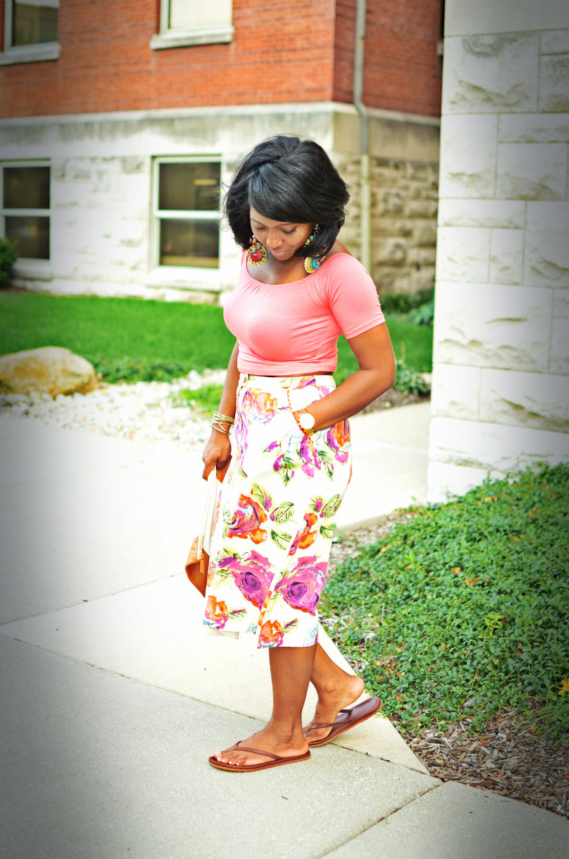 How to style a floral skirt and crop top