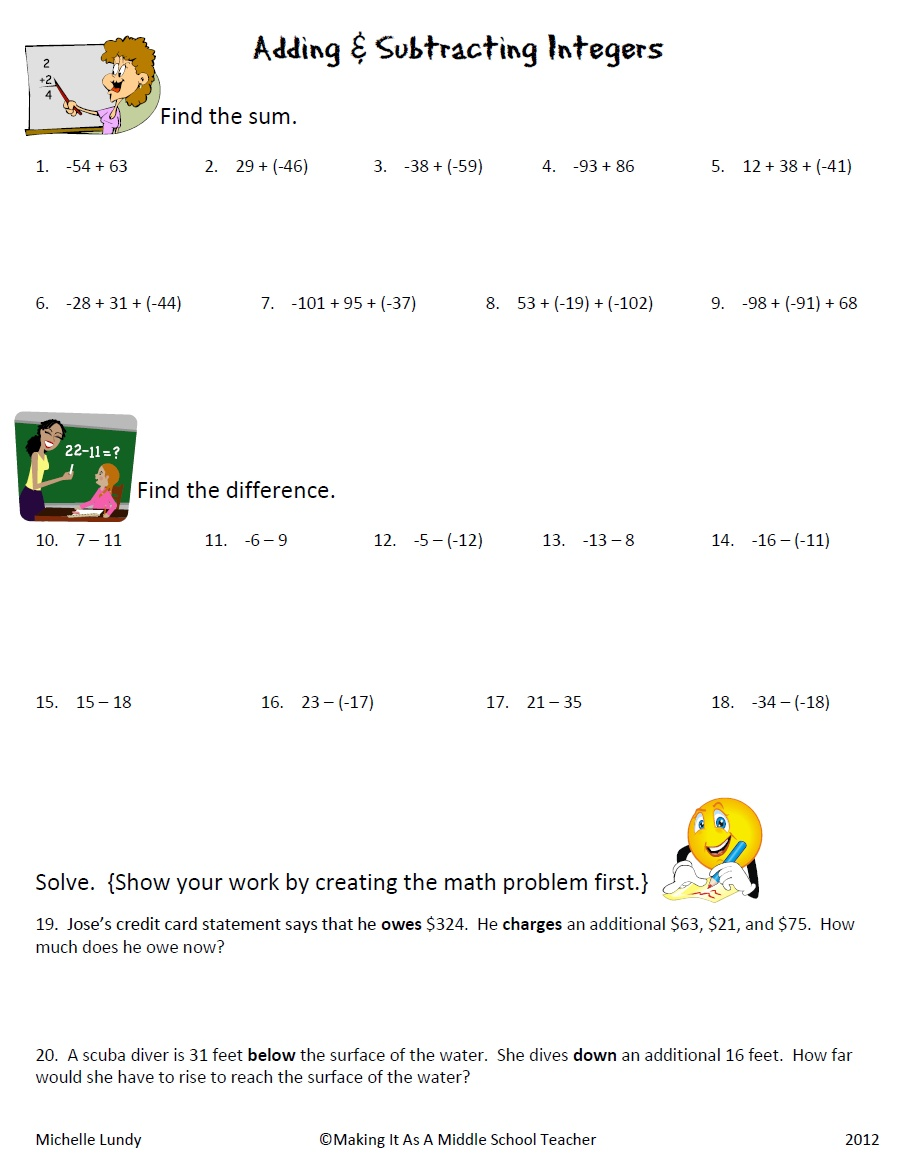 Adding And Subtracting Integers Word Problems Worksheet Worksheets ...