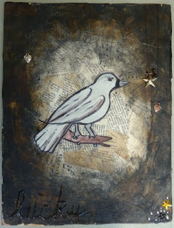 Whoopidooings: Mixed Media on Wood - Lucky Bird by Devon Louise