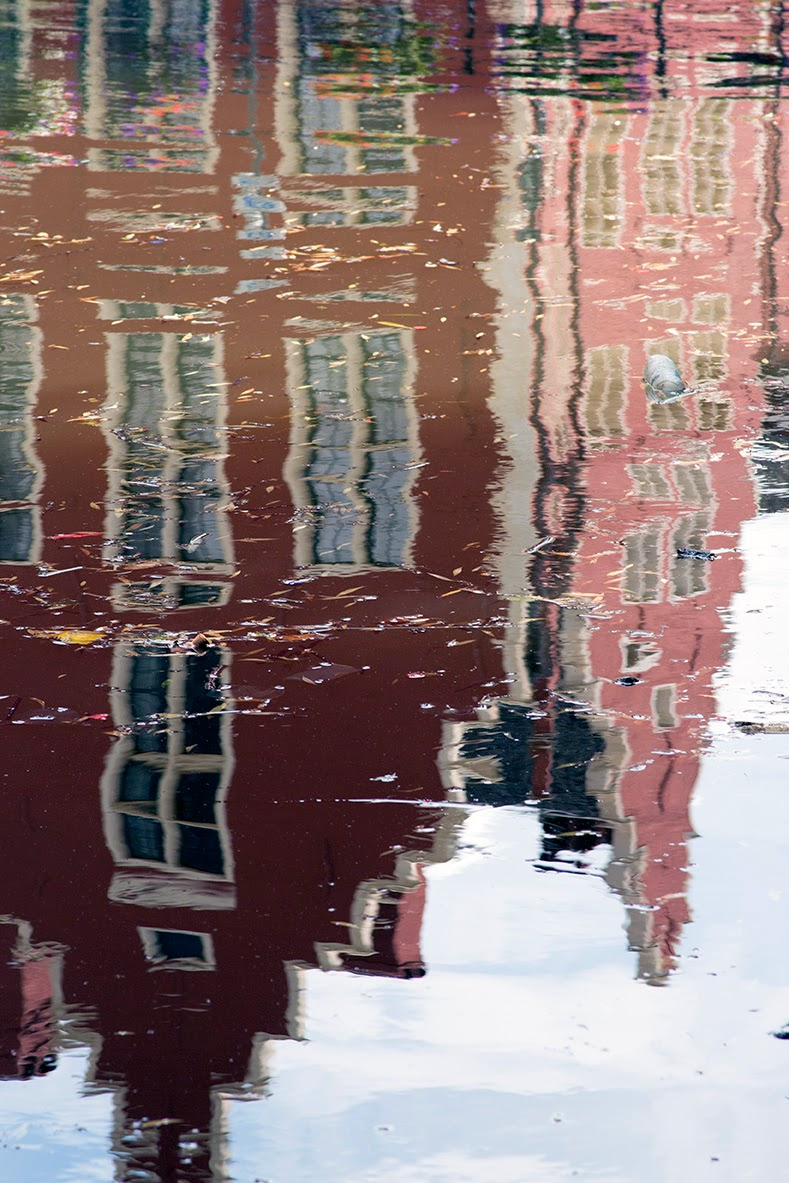 reflection of a red house in the LIeve
