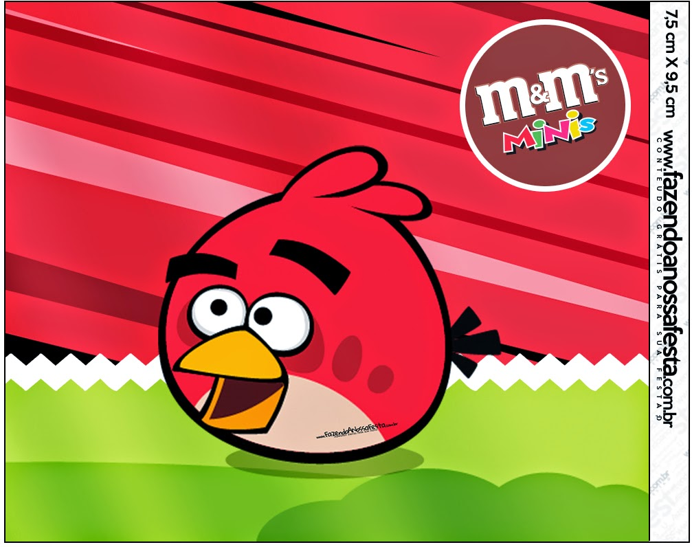 Etiquetas de M&M Angry Birds para imprimir gratis.