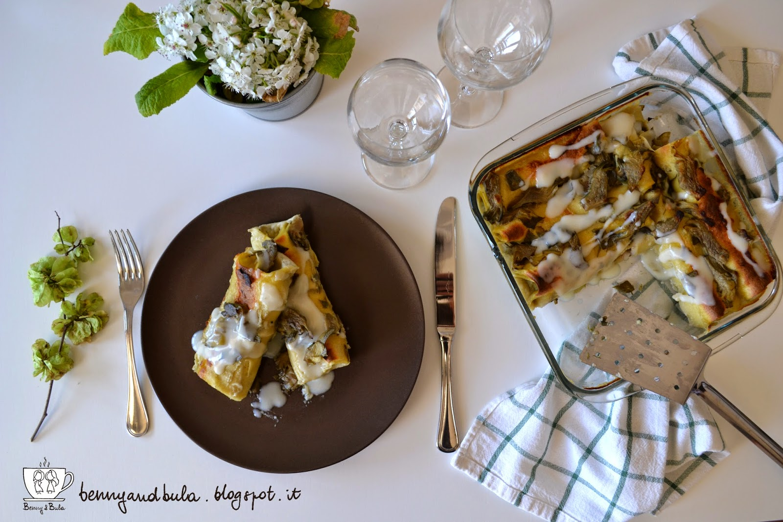 ricetta cannelloni ai carciofi light, pranzo di pasqua / light artichokes homemade pasta recipe