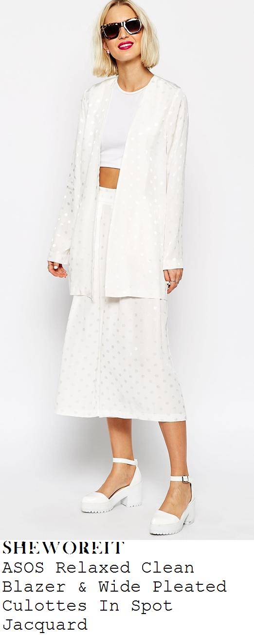 leigh-anne-pinnock-white-spot-print-blazer-and-culottes-co-ords-kiss-fm