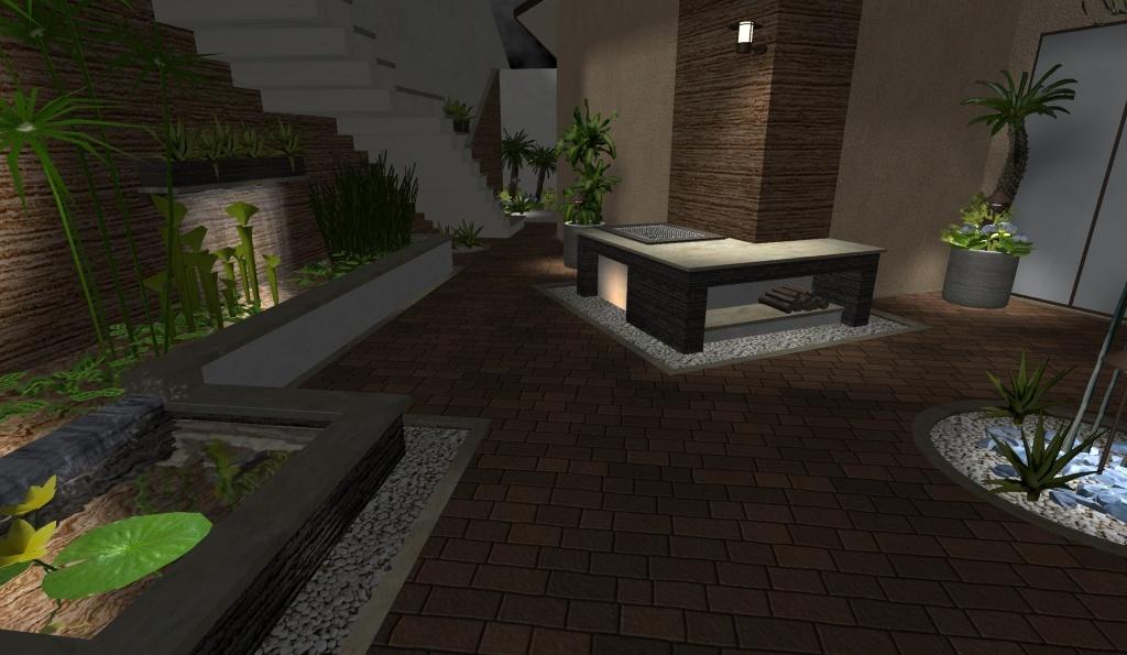 diseño 3D patio jardín acuatico fuente 2 cascadas asador escalera foto 3