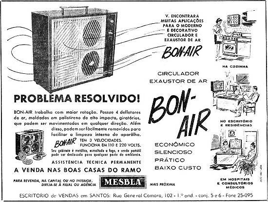 Propaganda de 1967 onde eram divulgadas as linhas de ventiladores, circuladores e exaustores de ar na Mesbla.