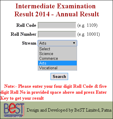 check bihar board inter 2014 result