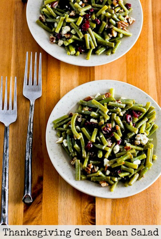 Thanksgiving Green Bean Salad Recipe with Blue Cheese, Dried Cranberries, and Pecans found on KalynsKitchen.com