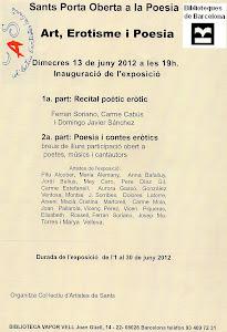 Cartel del recital de Poesía Erótica en Biblioteca Vapor Vell- Sants.