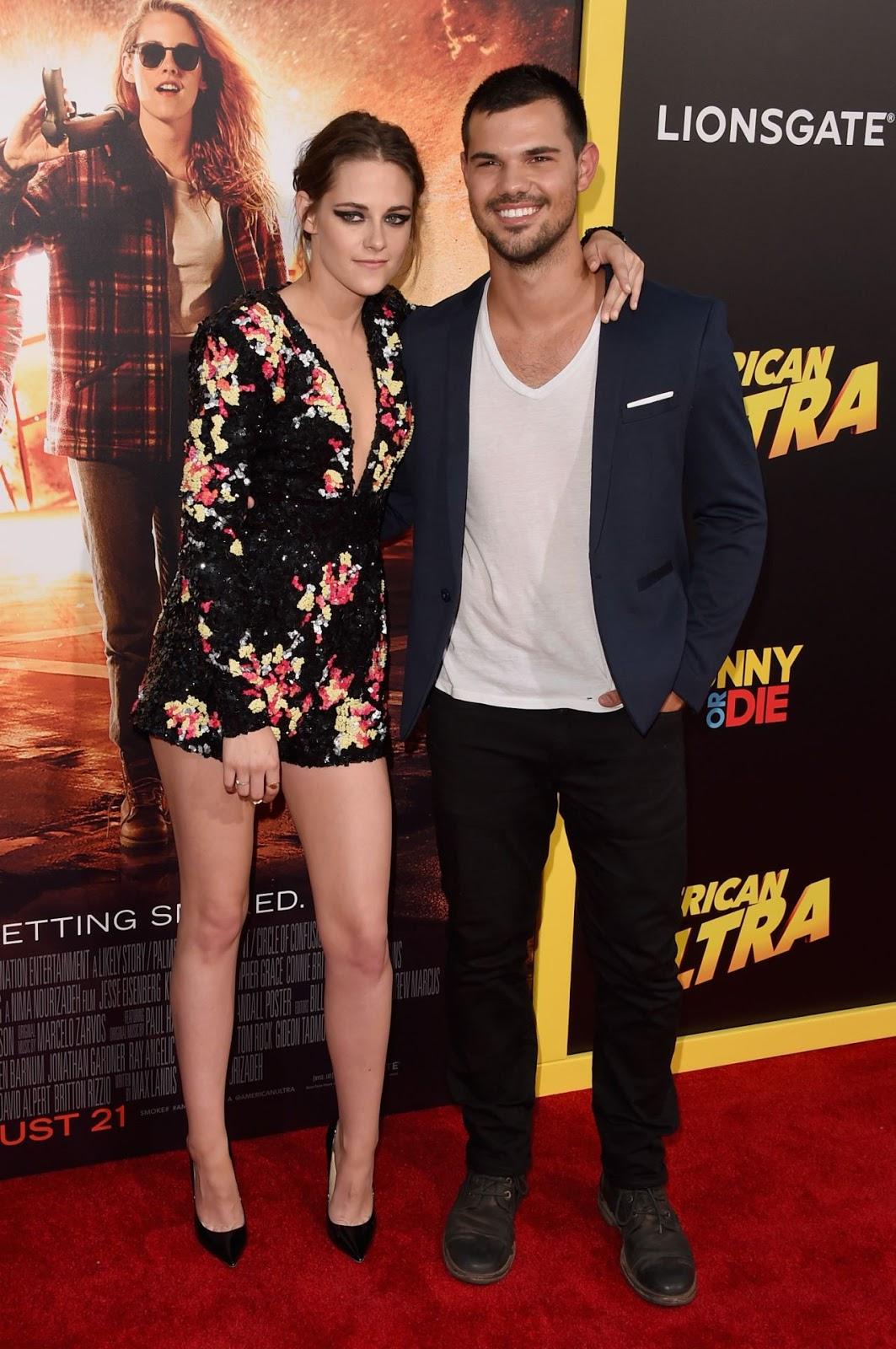 Taylor Lautner joins Kristen Stewart at her 'American Ultra' premiere in Los Angeles