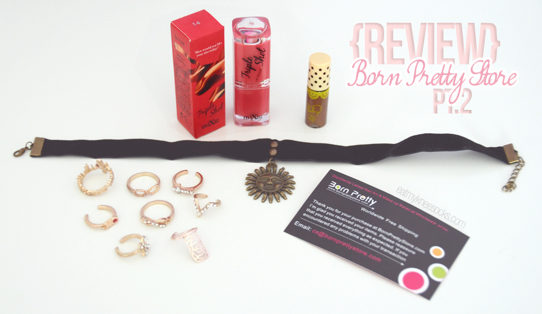The Eat My Knee Socks review of Born Pretty Store, featuring rings, chokers, eyebrow mascara, and lipstick!