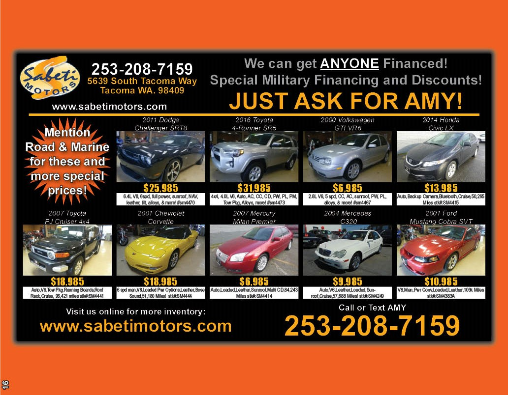 Ask For Amy @ Sabeti Motors & Mention Road & Marine Magazine For Special Prices!!