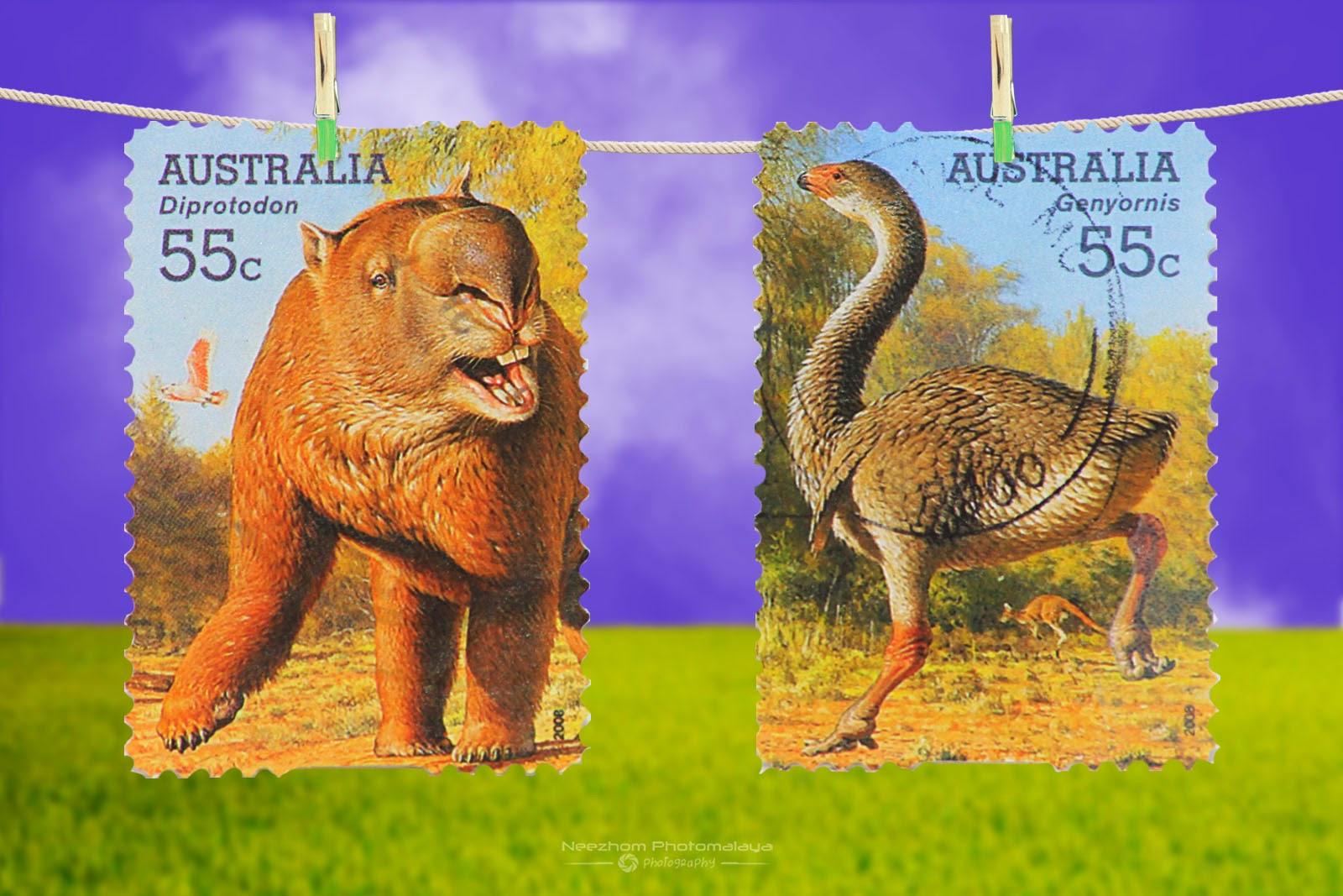 Australia 2008 Mega Fauna stamps - Diprotodon 55c, Genyornis 55c