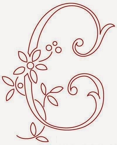 C flower calligraphy monogram tattoo stencils