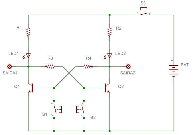 Circuito Transistor : Flip flop simples com dois transistores eletrônica em casa