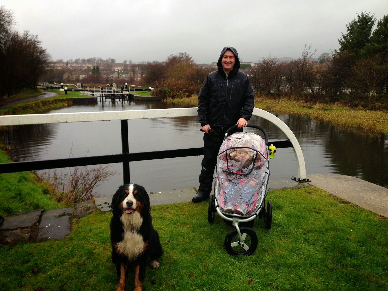 Mattie, Jackson, and Brian on a walk along the Forth & Clyde canal