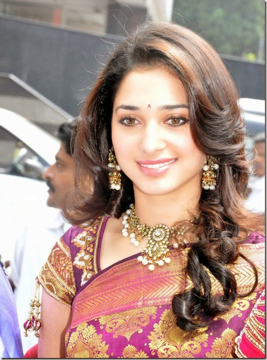 Actress Tamanna in Sari Photos