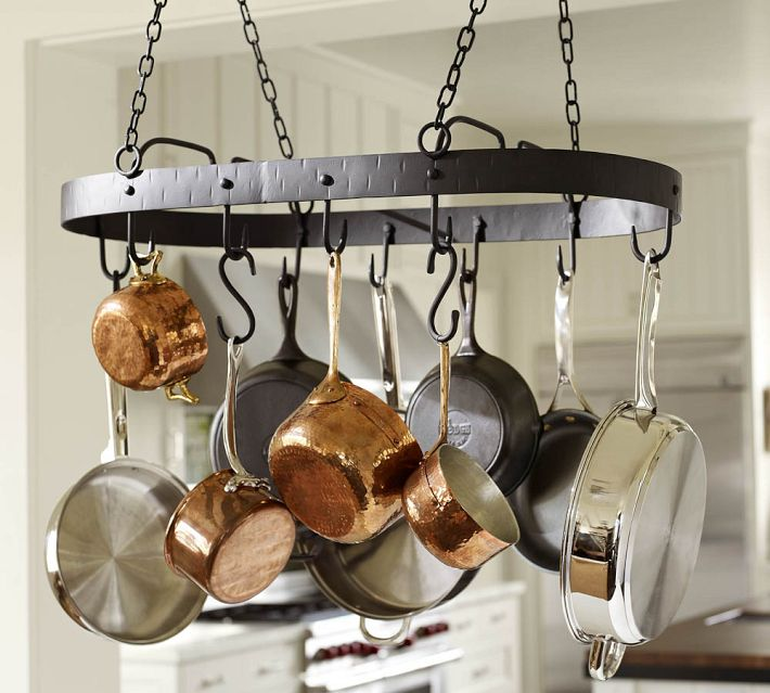 Urban simplicity organizing obsession stacked pans for Kitchen s hooks for pots and pans