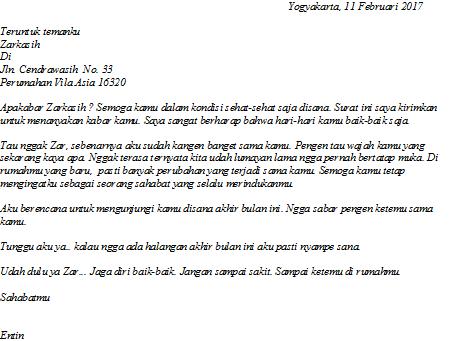 Contohsurat pribadi: Surat seorang anak kepada orang tuanya atau surat