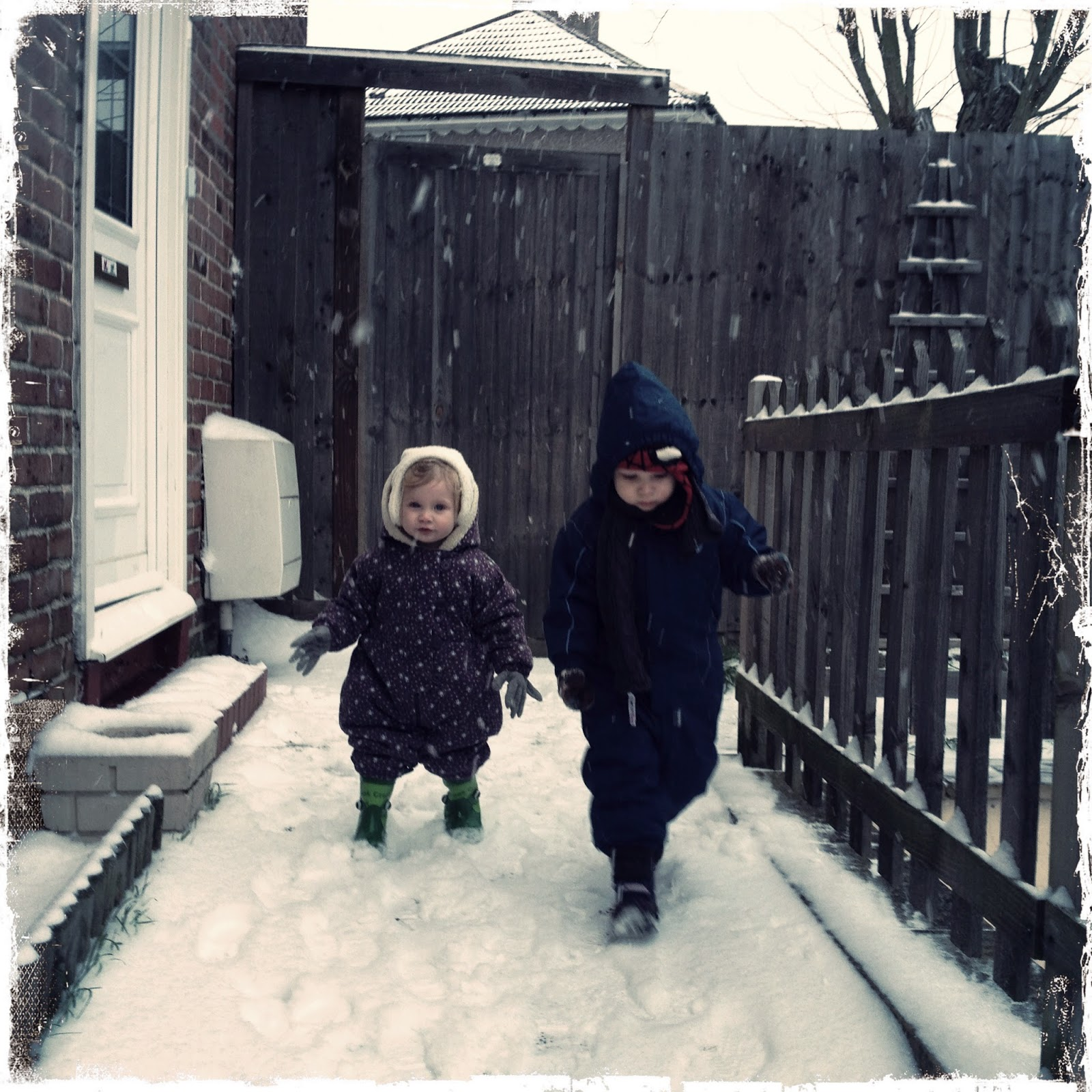 Blake Clement 3 and Maegan 1 Clement playing in the snow - Jan 2013