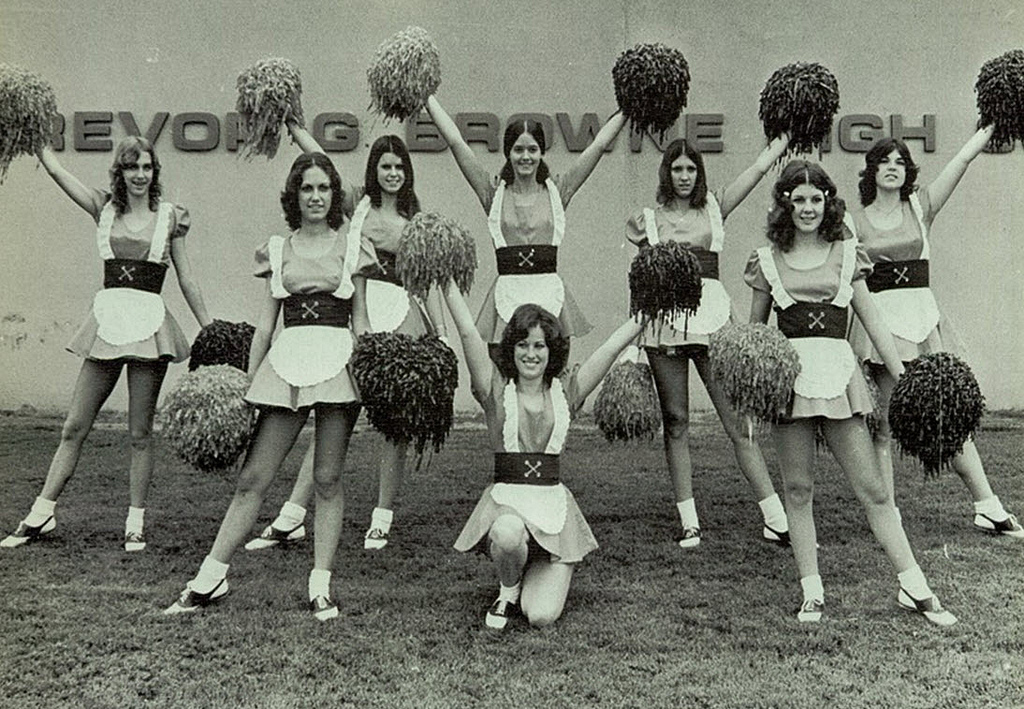 retro junior high cheerleaders